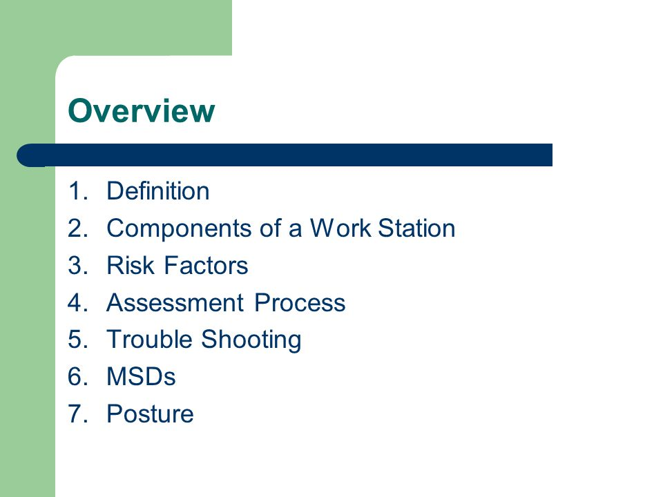 Overview Definition Components of a Work Station Risk Factors