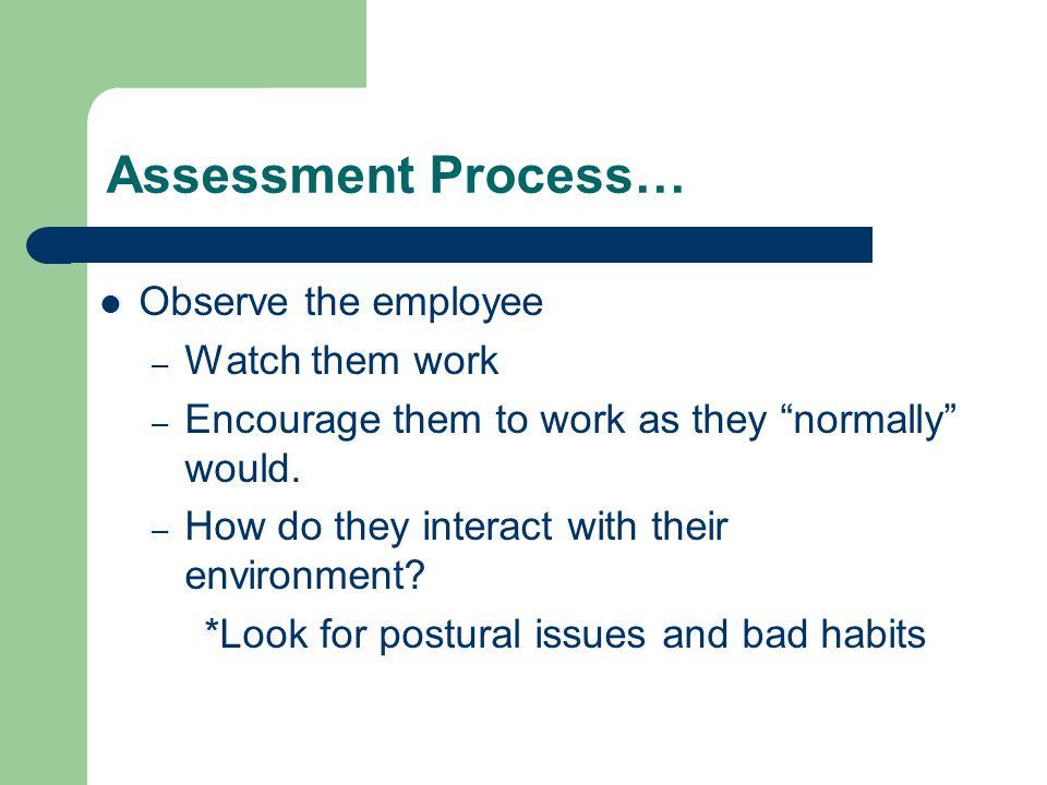 Assessment Process… Observe the employee Watch them work