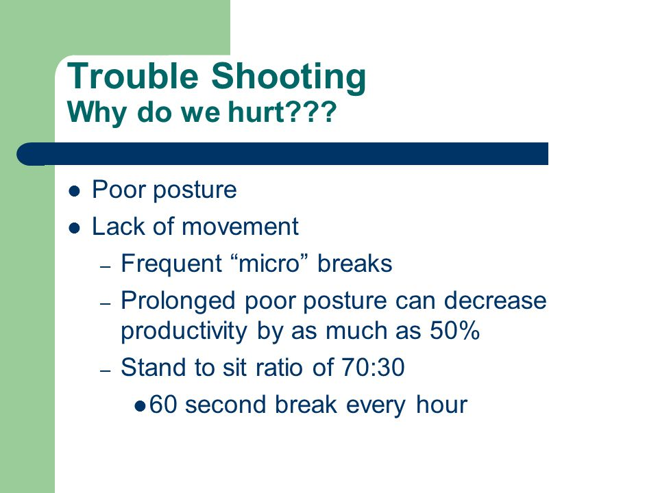Trouble Shooting Why do we hurt