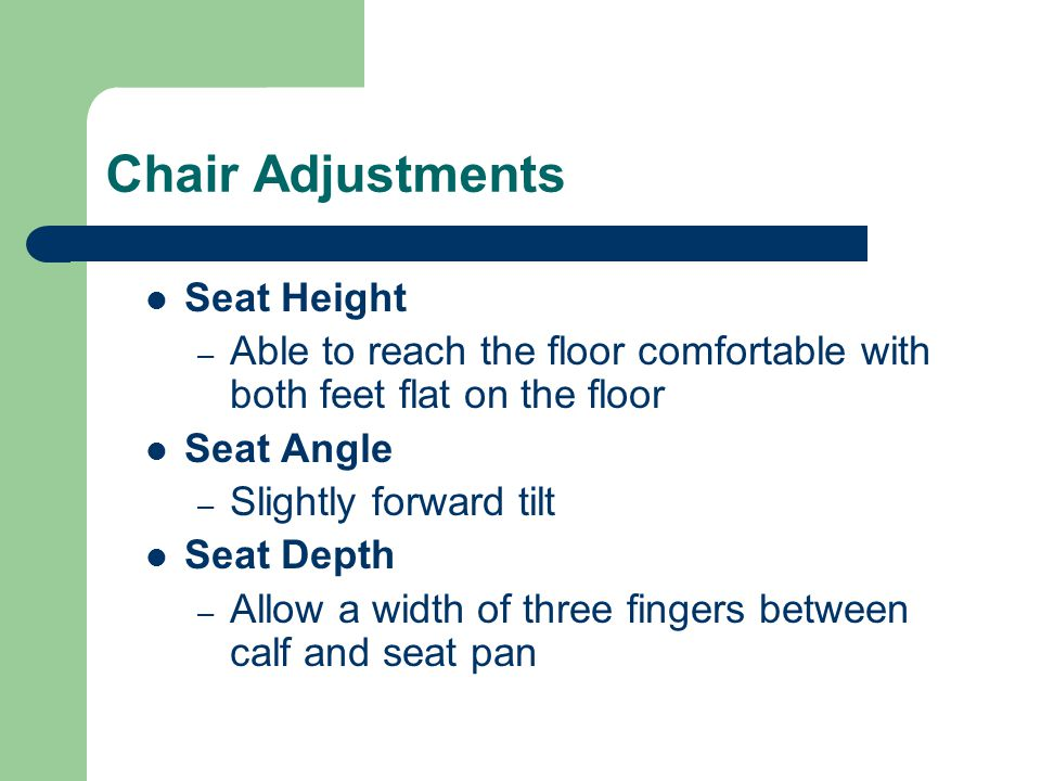 Chair Adjustments Seat Height