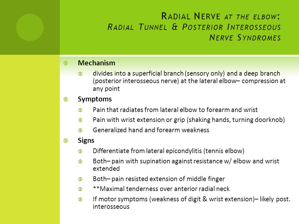 Radial Nerve at the elbow: Radial Tunnel & Posterior Interosseous Nerve Syndromes