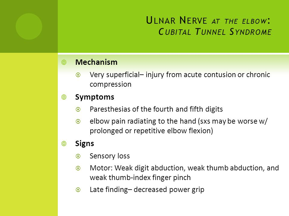 Ulnar Nerve at the elbow: Cubital Tunnel Syndrome