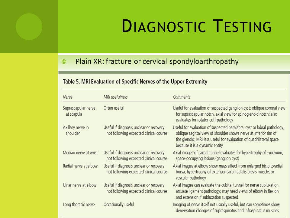 Diagnostic Testing Plain XR: fracture or cervical spondyloarthropathy