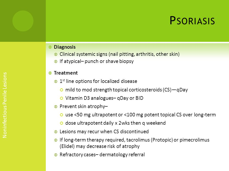 Psoriasis Noninfectious Penile Lesions Diagnosis