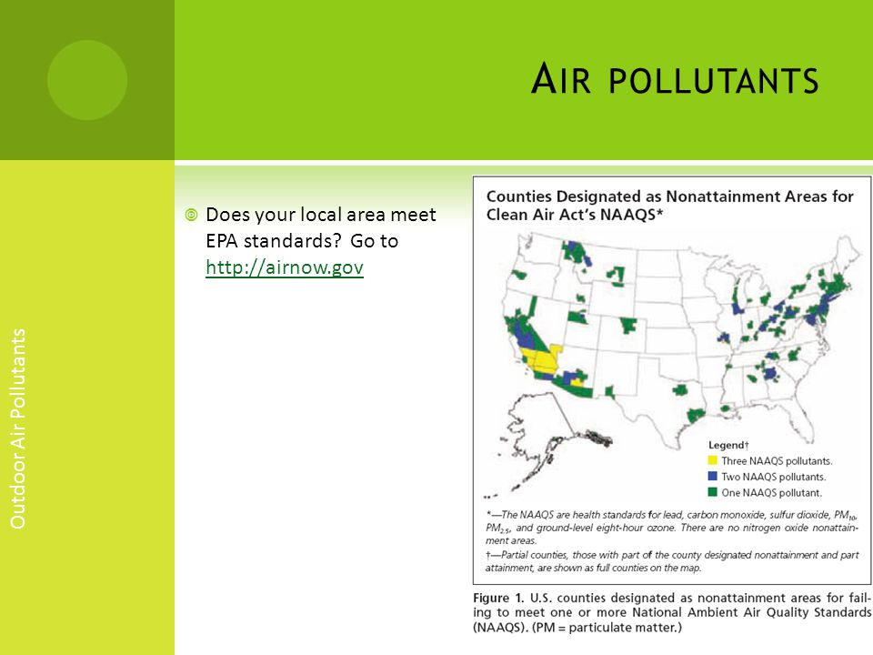 Air pollutants Does your local area meet EPA standards Go to http://airnow.gov. Outdoor Air Pollutants.