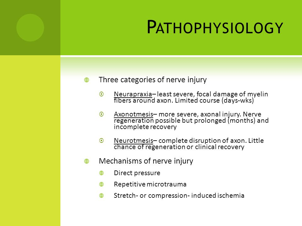 Pathophysiology Three categories of nerve injury