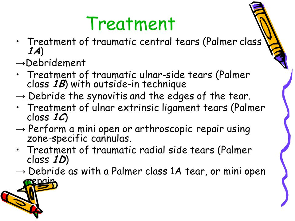 Treatment Treatment of traumatic central tears (Palmer class 1A)