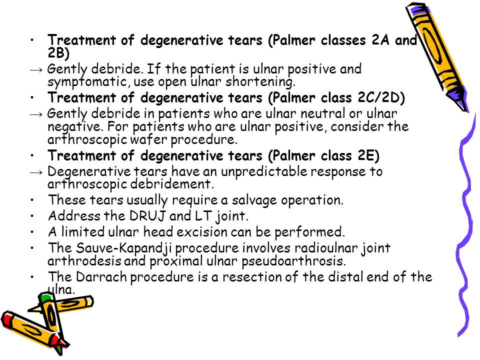 Treatment of degenerative tears (Palmer classes 2A and 2B)