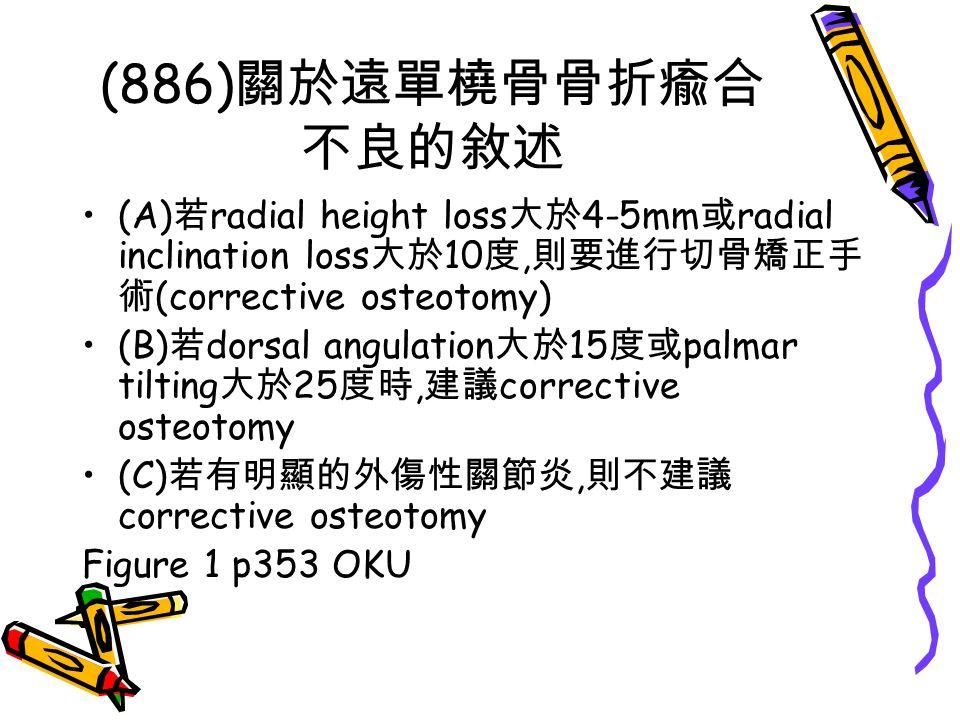 (886)關於遠單橈骨骨折瘉合不良的敘述 (A)若radial height loss大於4-5mm或radial inclination loss大於10度,則要進行切骨矯正手術(corrective osteotomy)