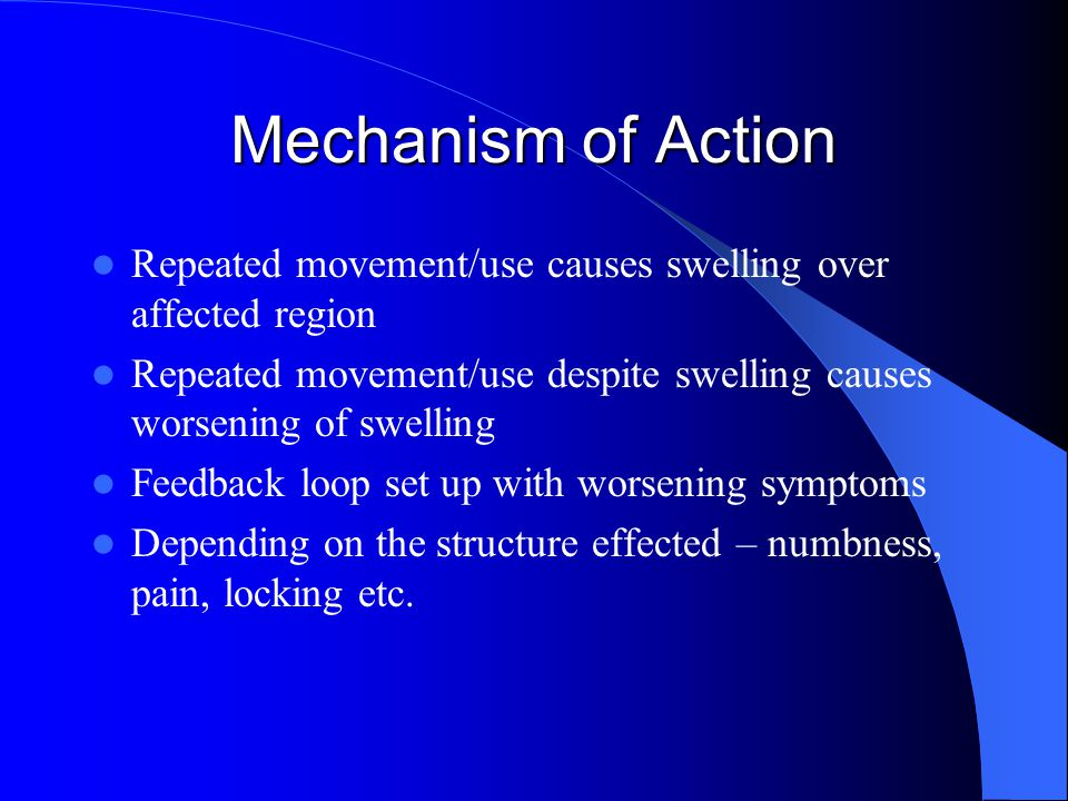Mechanism of Action Repeated movement/use causes swelling over affected region. Repeated movement/use despite swelling causes worsening of swelling.