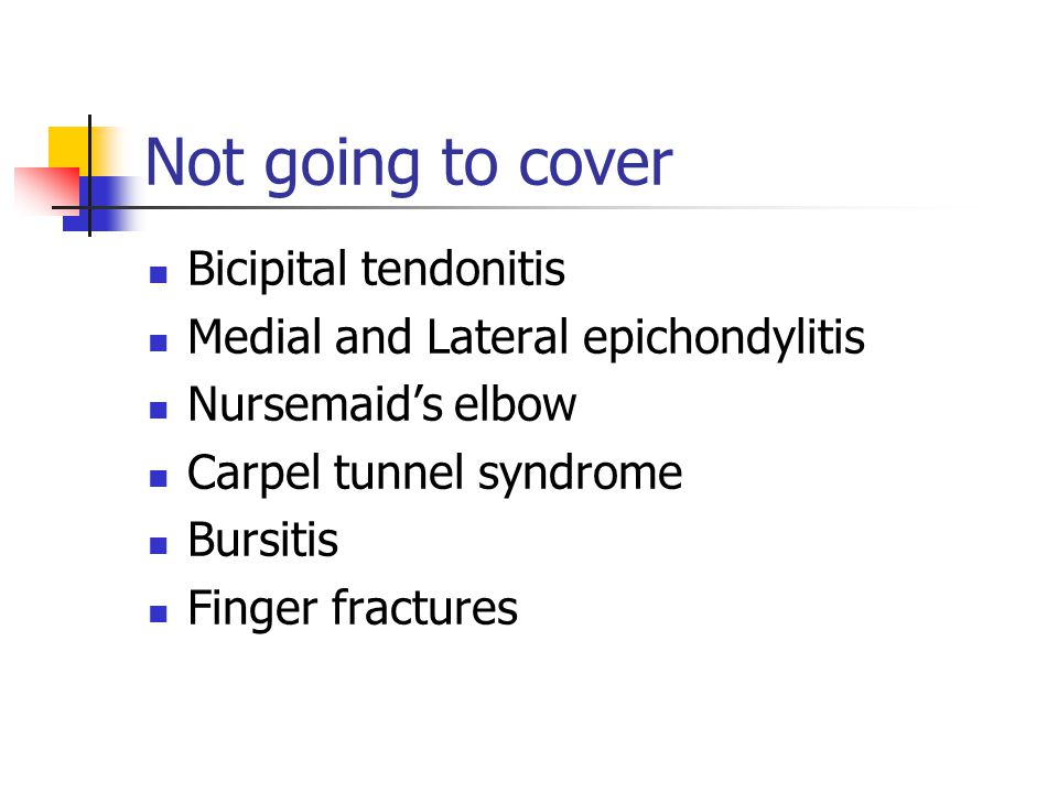 Not going to cover Bicipital tendonitis