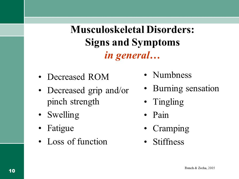 Musculoskeletal Disorders: Signs and Symptoms in general…