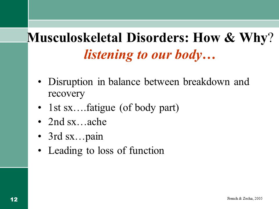 Musculoskeletal Disorders: How & Why listening to our body…