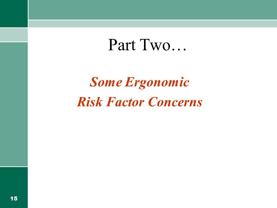 Some Ergonomic Risk Factor Concerns