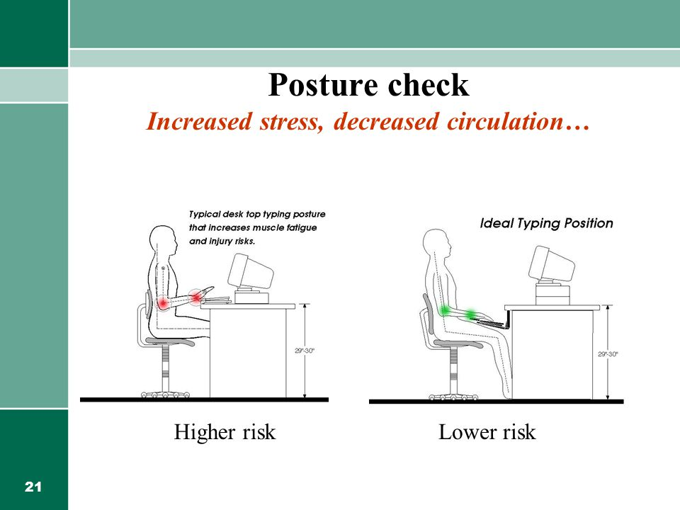 Posture check Increased stress, decreased circulation…