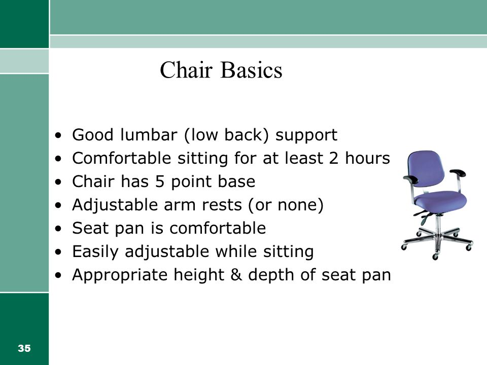Chair Basics Good lumbar (low back) support