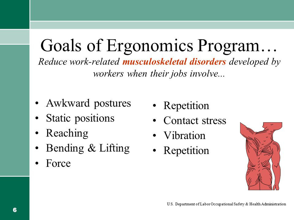 Goals of Ergonomics Program… Reduce work-related musculoskeletal disorders developed by workers when their jobs involve...