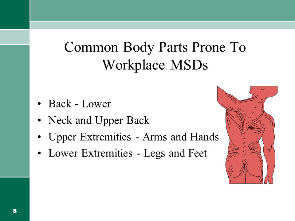 Common Body Parts Prone To Workplace MSDs