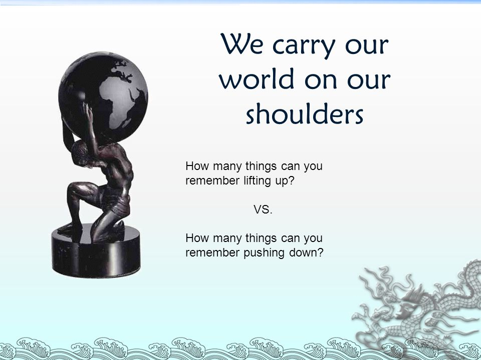 We carry our world on our shoulders