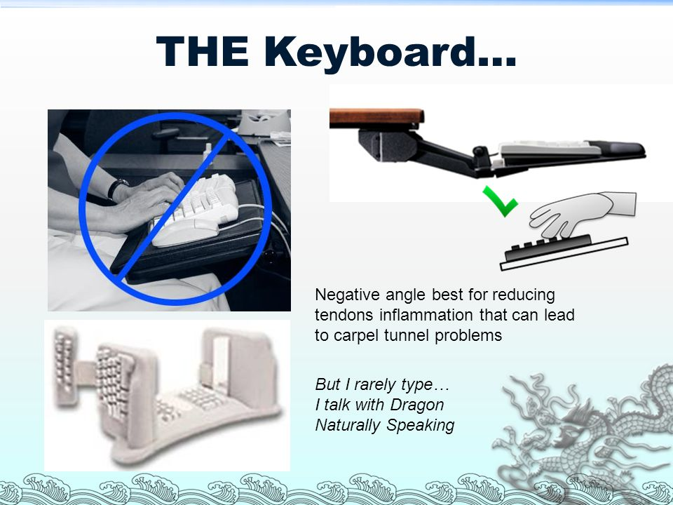 THE Keyboard… Negative angle best for reducing tendons inflammation that can lead to carpel tunnel problems.