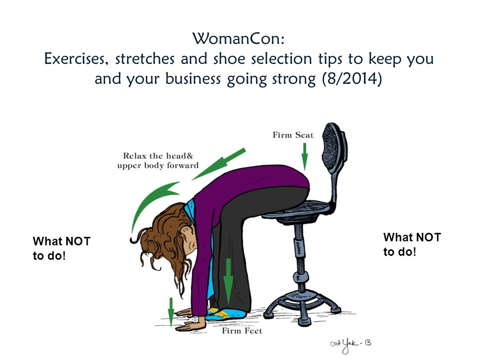 WomanCon: Exercises, stretches and shoe selection tips to keep you and your business going strong (8/2014)