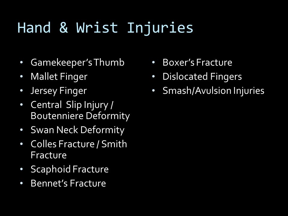 Hand & Wrist Injuries Gamekeeper's Thumb Mallet Finger Jersey Finger