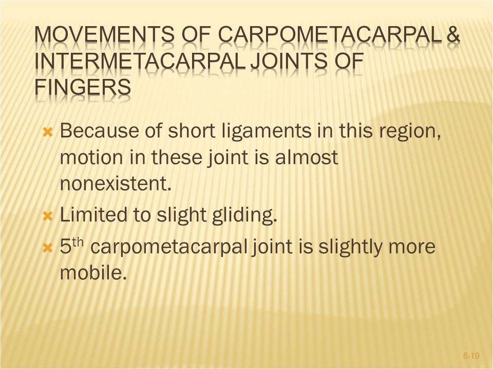 Movements of Carpometacarpal & Intermetacarpal Joints of Fingers