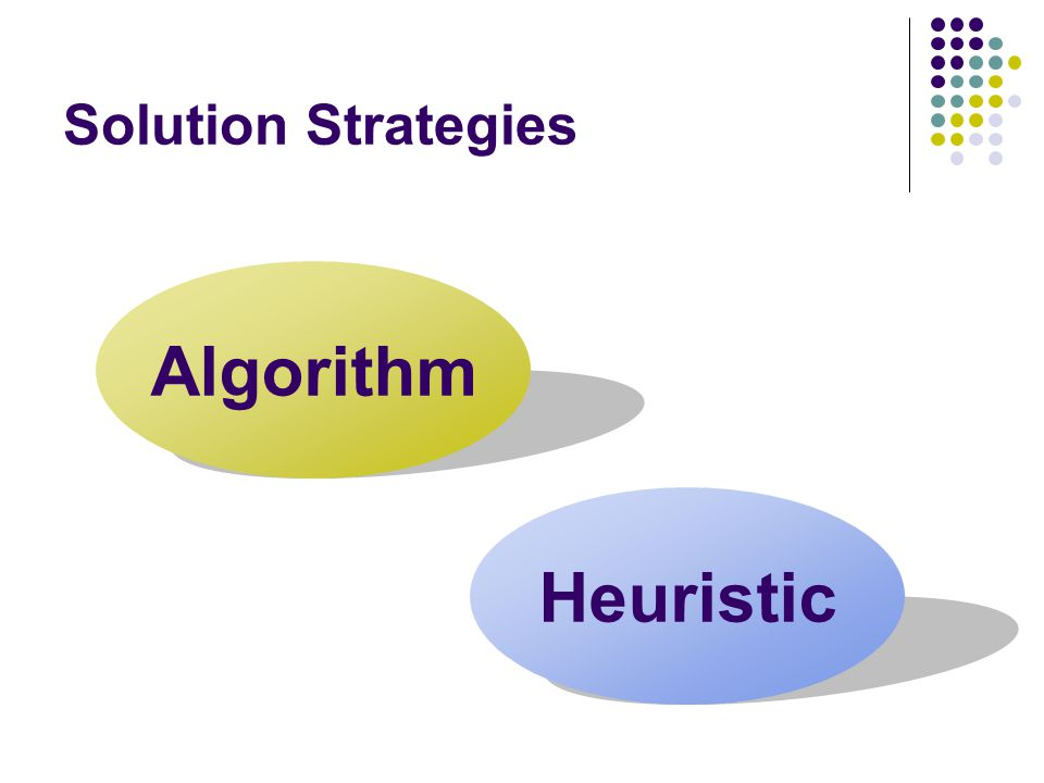 Solution Strategies Algorithm Heuristic