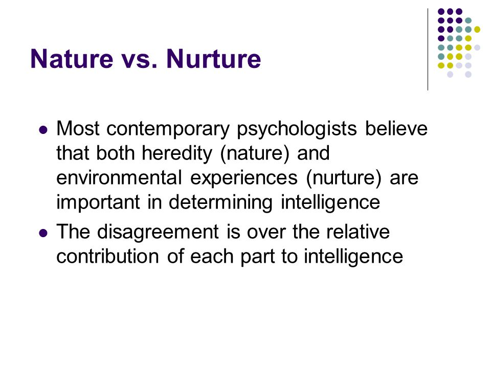 nature vs nurture essay intelligence Nature vs nurture - what do you think in looking for the causes of individual differences in intelligence, a major issue is the relative contribution of genetics and environment.