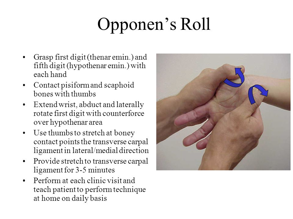 Opponen's Roll Grasp first digit (thenar emin.) and fifth digit (hypothenar emin.) with each hand. Contact pisiform and scaphoid bones with thumbs.
