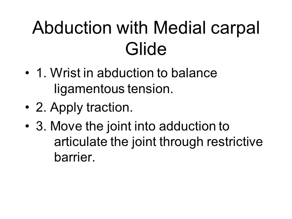 Abduction with Medial carpal Glide