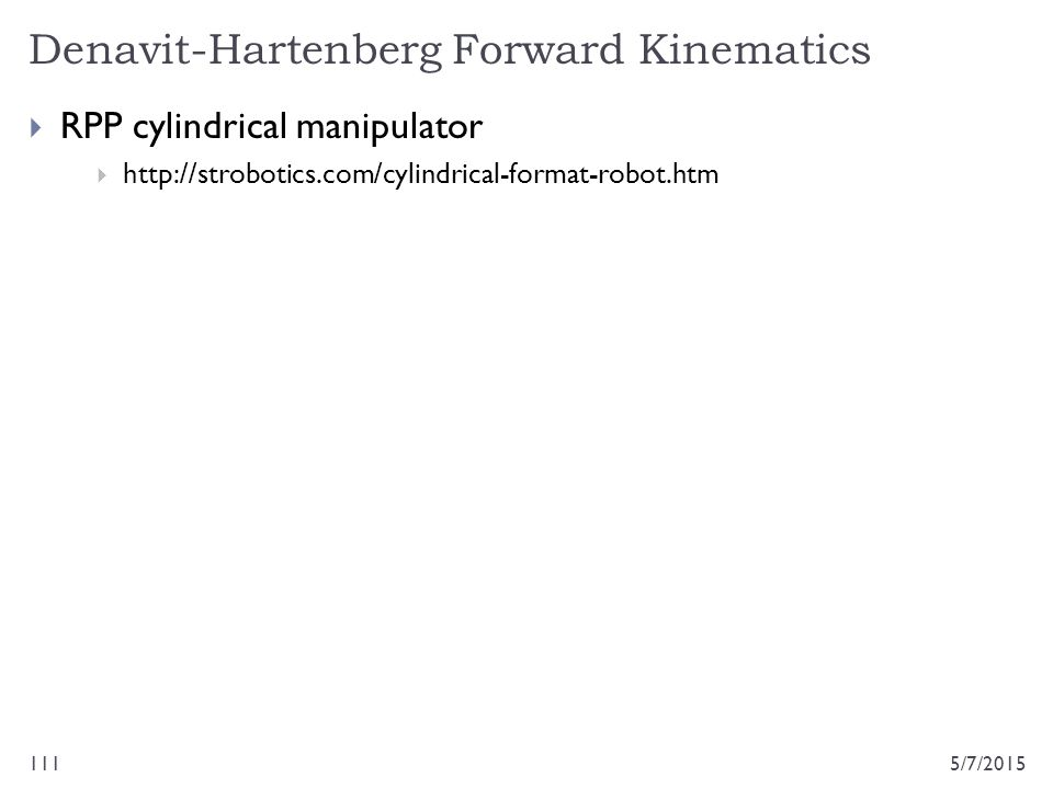 Denavit-Hartenberg Forward Kinematics