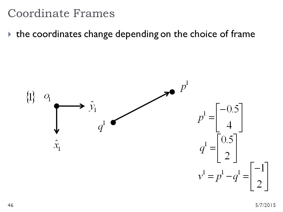 Coordinate Frames the coordinates change depending on the choice of frame 4/14/2017