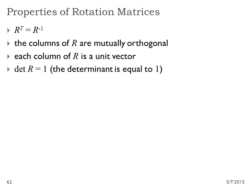 Properties of Rotation Matrices