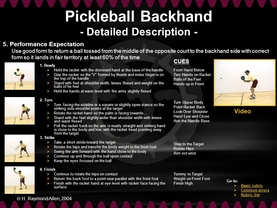 Pickleball Backhand - Detailed Description -