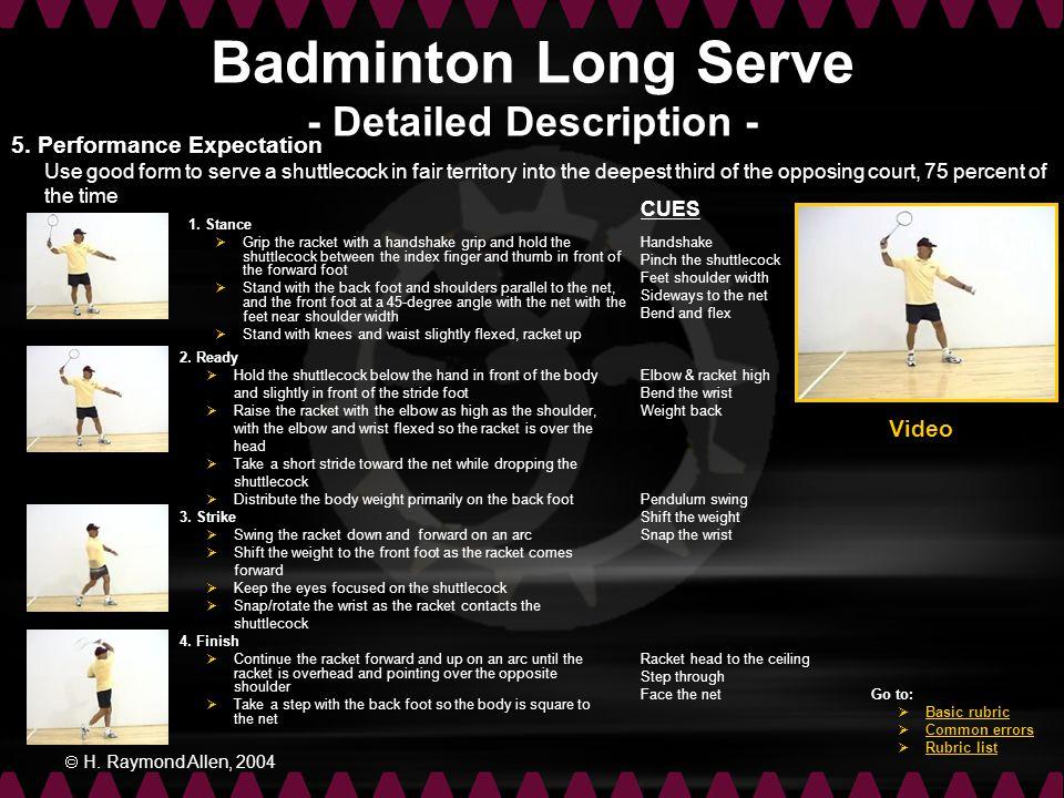 Badminton Long Serve - Detailed Description -