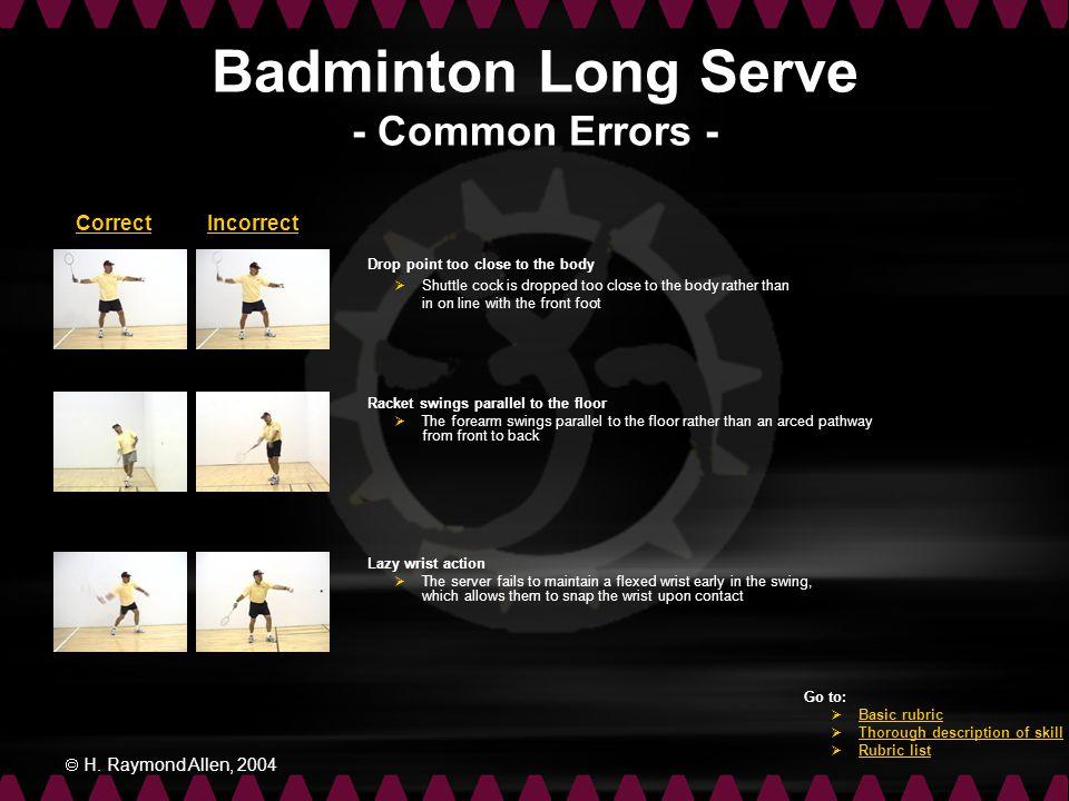 Badminton Long Serve - Common Errors -