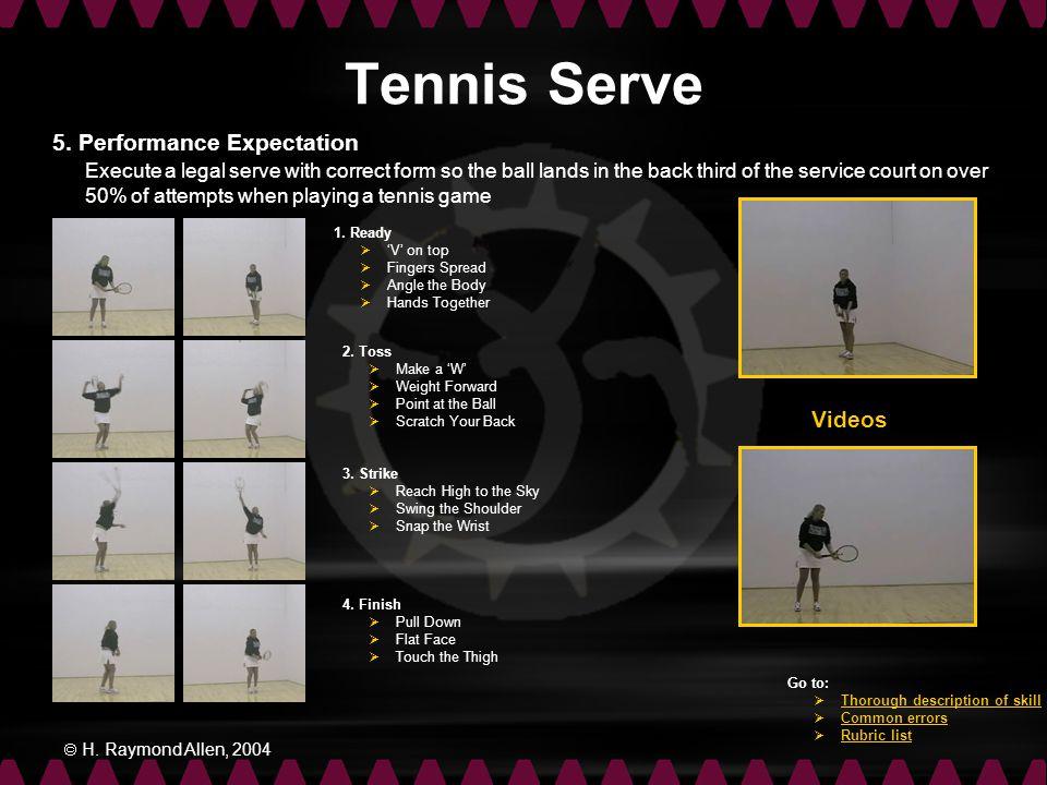 Tennis Serve 5. Performance Expectation