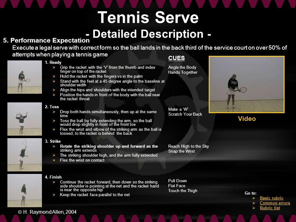 Tennis Serve - Detailed Description -