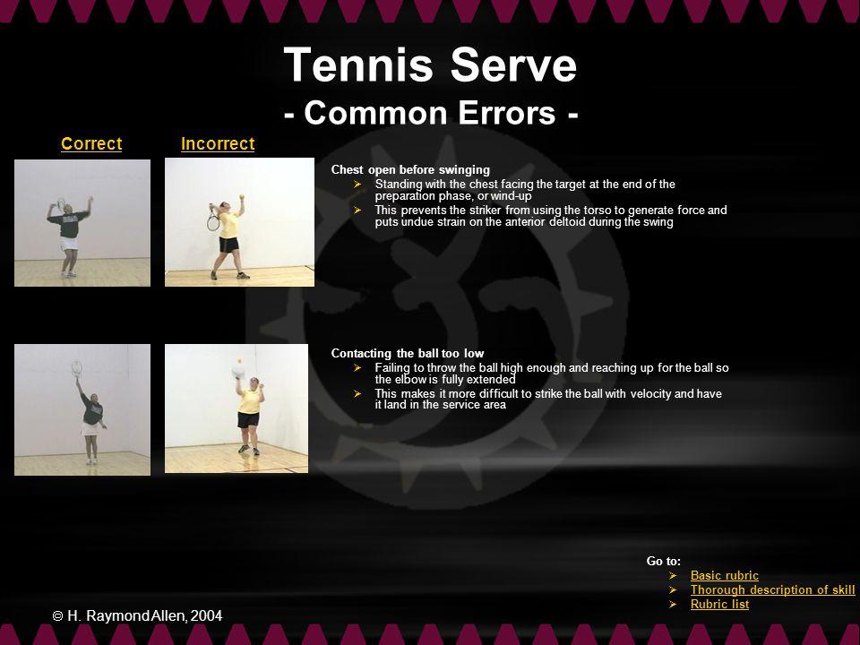 Tennis Serve - Common Errors -