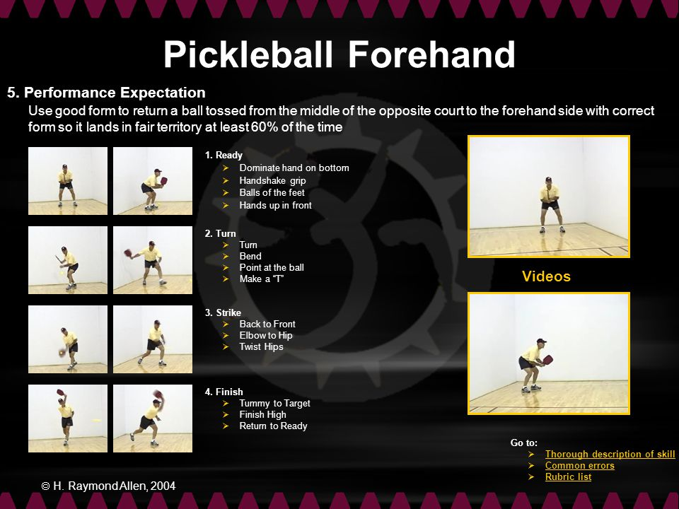 Pickleball Forehand 5. Performance Expectation