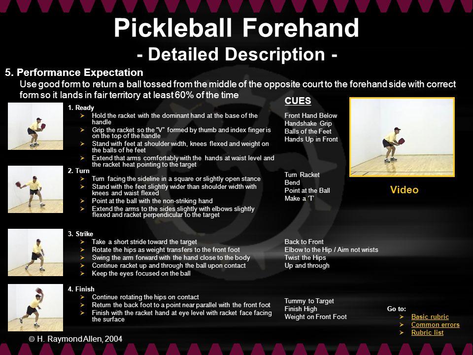 Pickleball Forehand - Detailed Description -