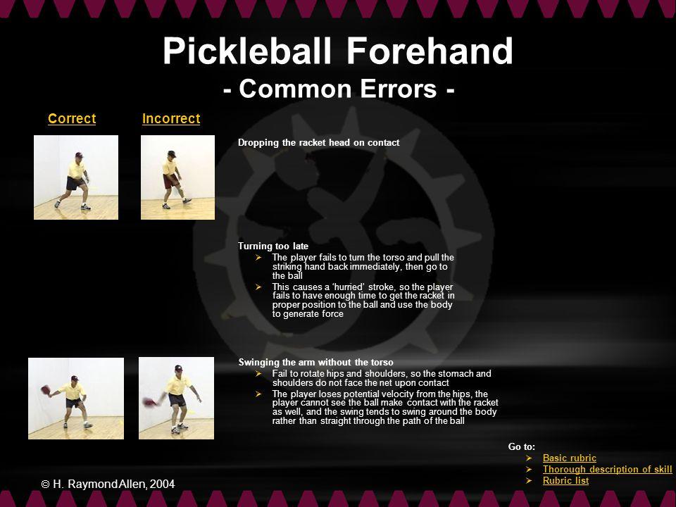 Pickleball Forehand - Common Errors -