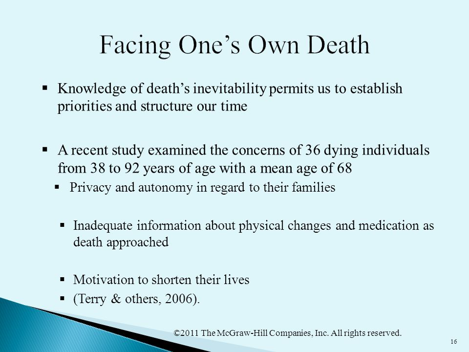 Facing One's Own Death Knowledge of death's inevitability permits us to establish priorities and structure our time.