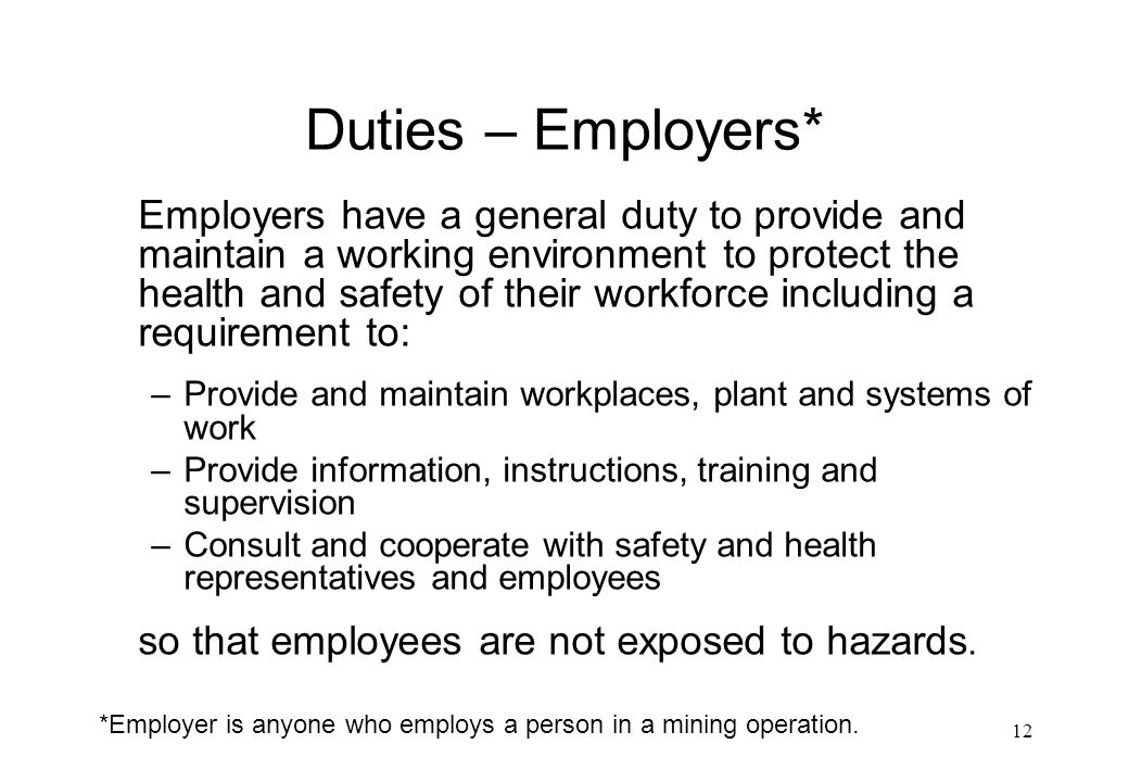Duties – Employers*