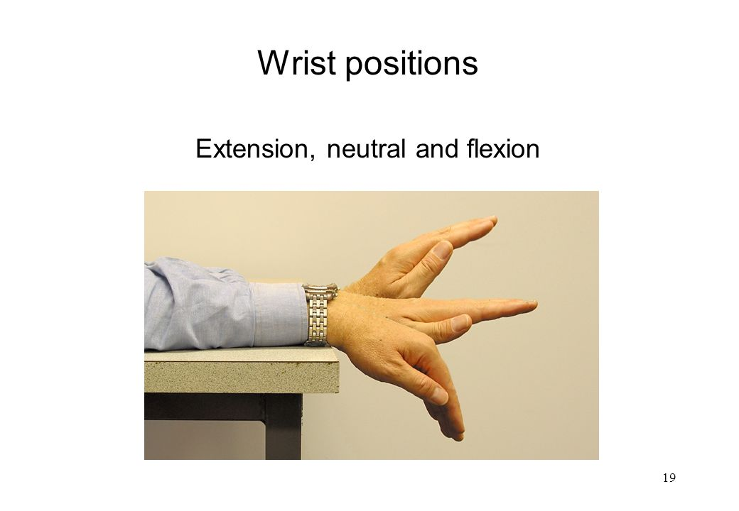 Wrist positions Extension, neutral and flexion