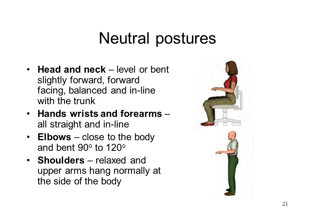 Neutral postures Head and neck – level or bent slightly forward, forward facing, balanced and in-line with the trunk.