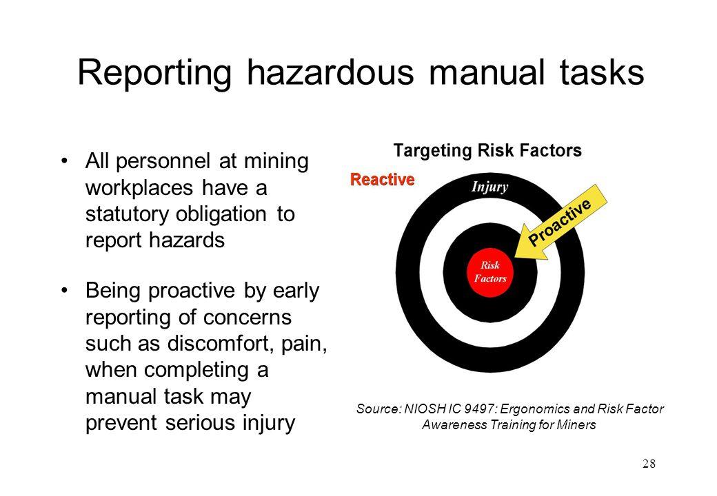 Reporting hazardous manual tasks