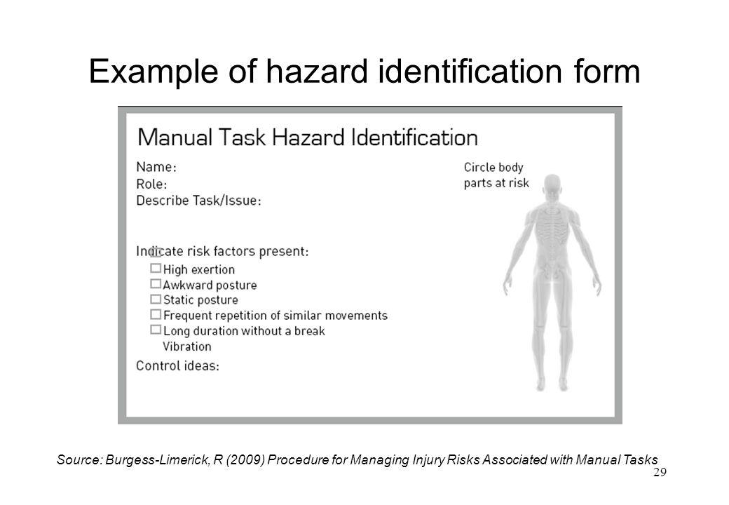 Example of hazard identification form