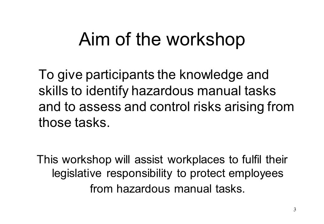 Aim of the workshop